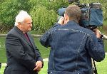 The Archbishop of Armagh speaking to the press at General Synod